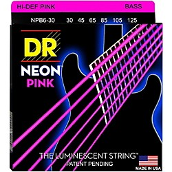 DR Strings NEON Hi-Def Pink Bass SuperStrings Medium 6-String (NPB6-30)