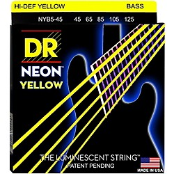 DR Strings NEON Hi-Def Yellow Bass SuperStrings Medium 5-String (NYB5-45)