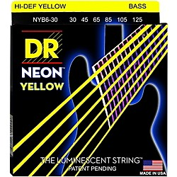 DR Strings NEON Hi-Def Yellow Bass SuperStrings Medium 6-String (NYB6-30)