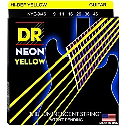 DR Strings NEON Hi-Def Yellow SuperStrings Light Top Heavy Bottom Electric Guitar Strings (NYE-9/46)