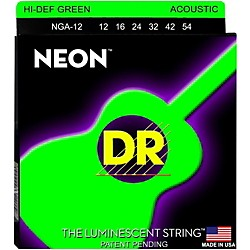 DR Strings NGA-12 NEON Hi-Def Phosphorescent Green Acoustic Strings Medium (NGA-12)