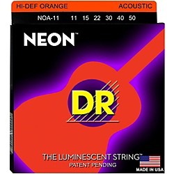 DR Strings NOA-11 Neon Hi-Def Phosphorescent Orange Acoustic Strings Medium-Light (NOA-11)