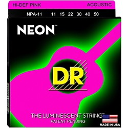 DR Strings NPA-11 NEON Hi-Def Phosphorescent Pink Acoustic Strings Medium-Light (NPA-11)