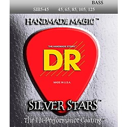 DR Strings SIB-45-125 Silver Stars Coated 5 String Bass Guitar Strings (SIB5-45)