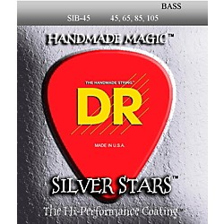 DR Strings SIB-45 Silver Stars Coated 4 String Medium Bass Guitar Strings (SIB-45)