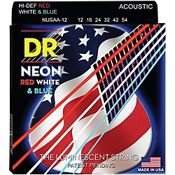 DR Strings USA Flag Sets: Hi-Def NEON Red, White & Blue Acoustic Guitar Medium Strings (NUSAA-12)