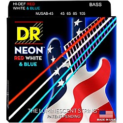 DR Strings USA Flag Sets: Hi-Def NEON Red, White & Blue Electric Bass 4 String Bass Strings (NUSAB-45)