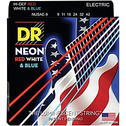 DR Strings USA Flag Sets: Hi-Def NEON Red, White & Blue Electric Guitar Lite Strings (NUSAE-9)