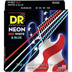 DR Strings USA Flag Sets: Hi-Def NEON Red, White & Blue Electric Lite 4 String Bass Strings (NUSAB-40)
