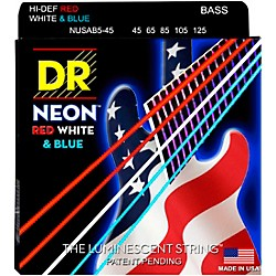 DR Strings USA Flag Sets: Hi-Def NEON Red, White & Blue Electric Medium 5 String Bass Strings (NUSAB5-45)