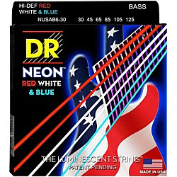 DR Strings USA Flag Sets: Hi-Def NEON Red, White & Blue Electric Medium 6 String Bass Strings (NUSAB6-30)