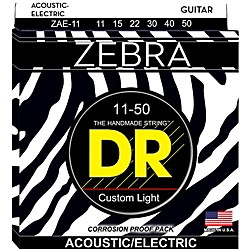 DR Strings Zebra Medium Lite Acoustic-Electric Guitar Strings (ZAE-11)