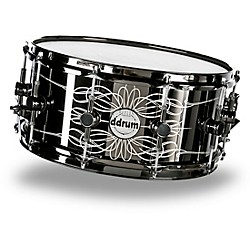 Ddrum Reflex Tattooed Lady Engraved Black Steel Snare Drum (TATTOOED LADY)