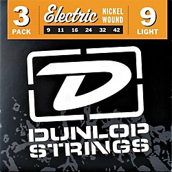 Dunlop Nickel Plated Steel Electric Guitar Strings Light 3-Pack (3PDEN0942)