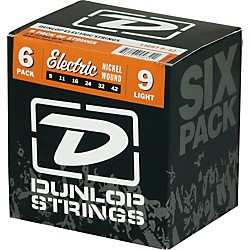Dunlop Nickel Plated Steel Electric Guitar Strings Light 6-Pack (6CDEN0942)