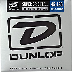 Dunlop Super Bright Nickel Medium 5-String Bass Guitar Strings (DBSBN45125)
