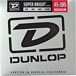 Dunlop Super Bright Steel Medium 4-String Bass Guitar Strings (DBSBS45105)
