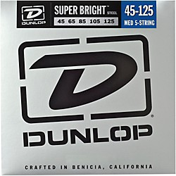 Dunlop Super Bright Steel Medium 5-String Bass Guitar Strings (DBSBS45125)