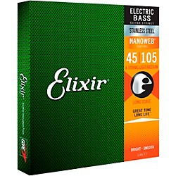 Elixir Stainless Steel Nanoweb Medium Long Scale 4-String Bass Strings (14677)