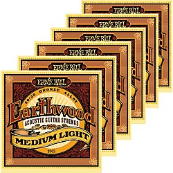 Ernie Ball 2003 Earthwood 80/20 Bronze Medium Light Acoustic Strings 6 Pack (KIT871178)
