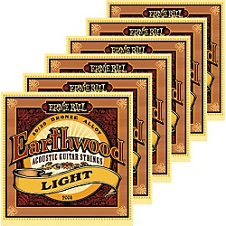 Ernie Ball 2004 Earthwood 80/20 Bronze Light Acoustic Guitar Strings 6 Pack (KIT871172)