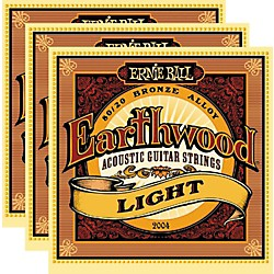 Ernie Ball 2004 Earthwood 80/20 Bronze Light Acoustic Strings (3-Pack) (P02004-3PK)