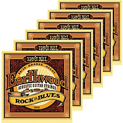 Ernie Ball 2008 Earthwood 80/20 Bronze Rock and Blues Acoustic Guitar Strings 6 Pack (KIT871177)