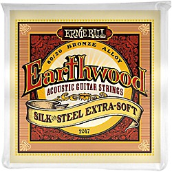 Ernie Ball 2047 Earthwood 80/20 Bronze Silk and Steel Extra Soft Acoustic Guitar Strings (P02047)