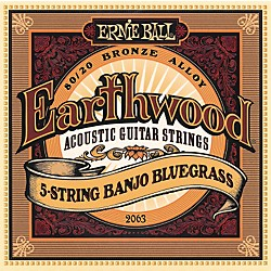 Ernie Ball 2063 Earthwood 80/20 Bronze 5-String Banjo Bluegrass Strings (P02063)