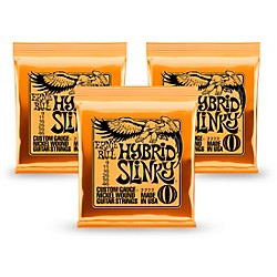 Ernie Ball 2222 Nickel Hybrid Slinky Orange Electric Guitar Strings 3 Pack (KIT 2222 - 3 Pk)