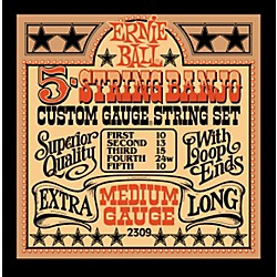 Ernie Ball 2309 Medium Gauge 5-String Banjo Strings (P02309)