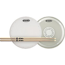 Evans HD Dry Snare Batter and Snare Side Head Pack with Free Pair of Pro-Mark Sticks (HDDRYBSS-TX5BN)