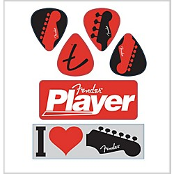 Fender I Love Fender Die-Cut Stickers (6 Pack) (9190560302)