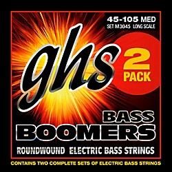 GHS Bass Boomers Standard Long Scale Roundwound Medium Light Electric Bass Strings 2-Pack (ML3045-2 SET)