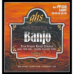 GHS PF130 Nickel Ball End 5-String Banjo Strings (PF130)