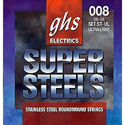 GHS ST-UL Super Steels Roundwound Ultra Light Electric Guitar Strings (ST-UL)