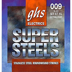 GHS ST-XL Super Steels Roundwound Extra Light Electric Guitar Strings (ST-XL)
