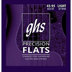 GHS Stainless Steel Precision Flatwound Electric Bass Strings (3025)