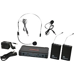 Galaxy Audio ECD Dual Channel UHF Wireless System with One Lapel and One Headset Microphone (USED004000 ECDR/38SVD)