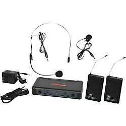 Galaxy Audio ECD Dual Channel UHF Wireless System with One Lapel and One Headset Microphone (ECDR/38SVL)