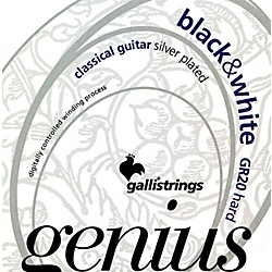 Galli Strings GR20 GENIUS Black And White Coated Silverplated Hard Tension Classical Acoustic Guitar Strings (GR20)