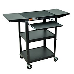 H. Wilson Adjustable Height Cart with Keyboard Tray and Drop Leaf Shelves (AVJ42KBDL)