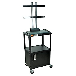 H. Wilson Adjustable Height LCD Cart with Locking Cabinet (AVJ42C-LCD)