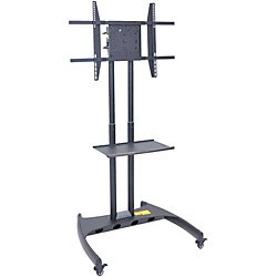 H. Wilson Luxor Adjustable Flat Panel Cart with Shelf and Rotating Mount (FP3500)