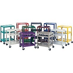 "H. Wilson Metal 26"" to 42"" 3 Shelf Cart 8"" Wheel (W42A Chrome)"