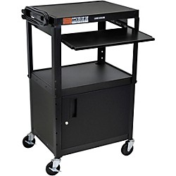 H. Wilson Plastic Cart with Steel Cabinet and Pullout Keyboard Tray (LP42CLE-B)