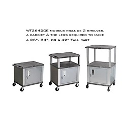 H. Wilson Tuffy Cart with lockable cabinet (WT26GYC4E-N)
