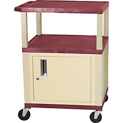 "H. Wilson Tuffy Plastic 34"" 3 Shelf Cart/Cabinet (Wt34C(3)E Burgundy)"