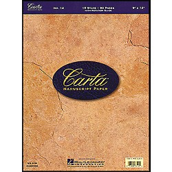 Hal Leonard Carta Manuscript Paper # 12 - Writing Pad, 9 X 12, 80 Pages, 10 Stave (210044)