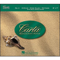 Hal Leonard Carta Manuscript Paper # 4 - Spiralbound, 8 X 7, 72 Pages, 6 Wide Stave (210049)